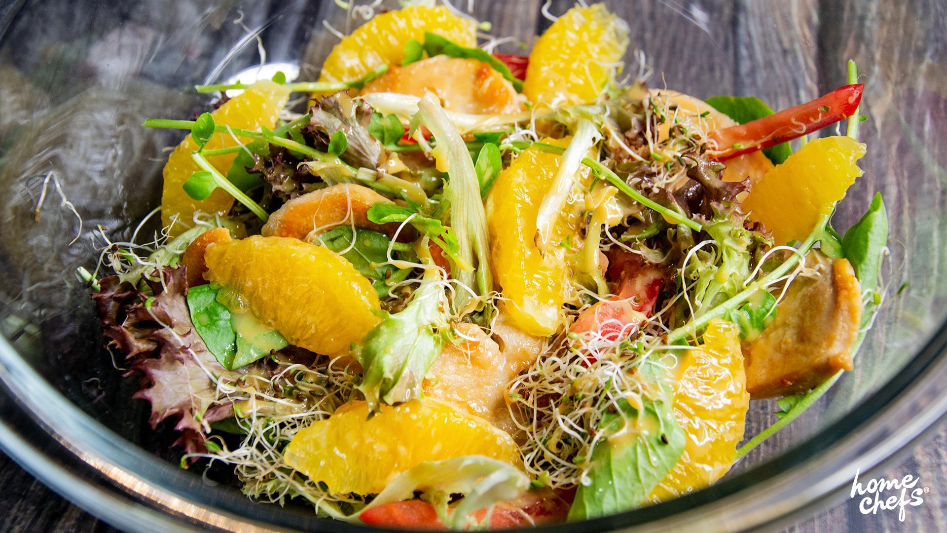 salada de frango e laranja