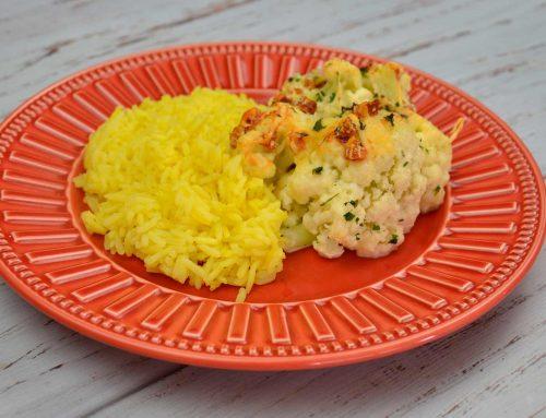 Couve flor gratinada com arroz de açafrão